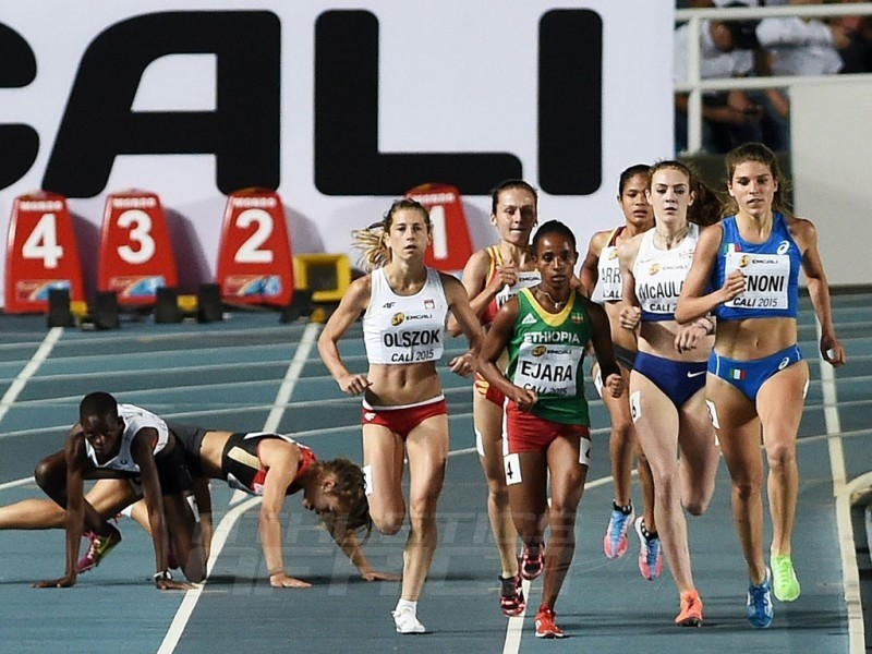 Marta Zenoni of Italy and Gadese Ejara of Ethiopia lead the field during the Girls 800 Meters Semi Final on day three of the IAAF World Youth Championships, Cali 2015 on July 17, 2015 at the Pascual Guerrero Olympic Stadium in Cali, Colombia. (Photo by Buda Mendes/Getty Images for IAAF)