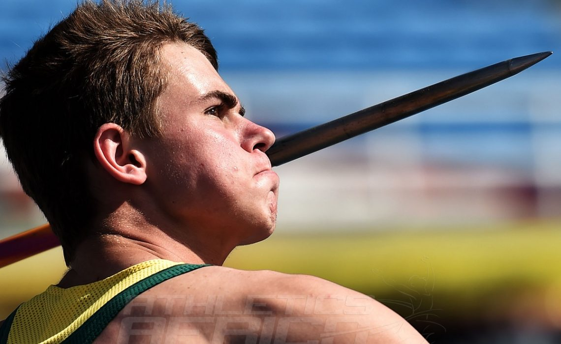 Paul Jacobus Botha of South Africa in action during the Boys Javelin Throw Final on day five of the IAAF World Youth Championships, Cali 2015