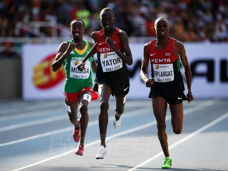 Richard Yator Kimunyan of Kenya, Davis Kiplangat of Kenya and Tefera Mosisa of Ethiopia in action during the mens 3000m Final on day five of the IAAF World Youth Championships, Cali 2015 on July 19, 2015 in Cali, Colombia. (Photo by Patrick Smith/Getty Images for IAAF)