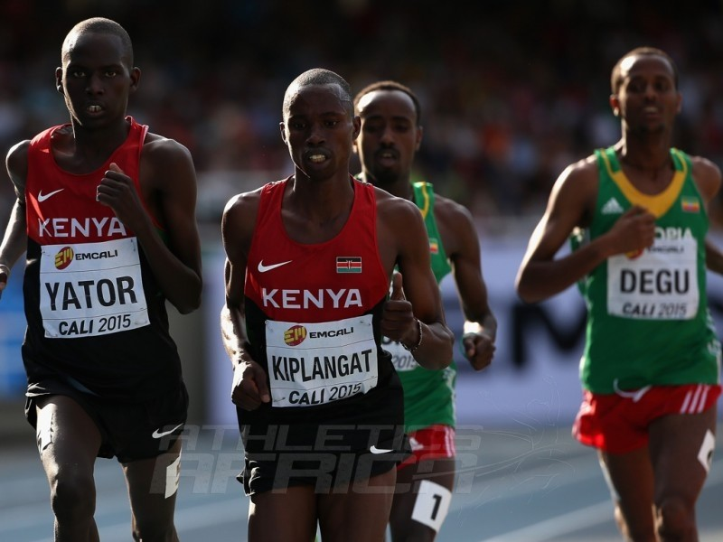 Richard Yator Kimunyan of Kenya, Davis Kiplangat of Kenya and Tefera Mosisa of Ethiopia in action during the men's 3000m Final on day five of the IAAF World Youth Championships, Cali 2015 on July 19, 2015 in Cali, Colombia. (Photo by Patrick Smith/Getty Images for IAAF)