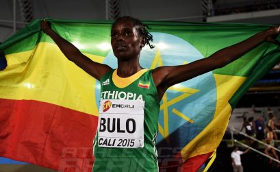 Shuru Bulo of Ethiopia celebrates with the Ethiopian flag after the Girls 3000 Meters Final on day one of the IAAF World Youth Championships, Cali 2015 on July 15, 2015 at the Pascual Guerrero Olympic Stadium in Cali, Colombia. (Photo by Buda Mendes/Getty Images for IAAF)