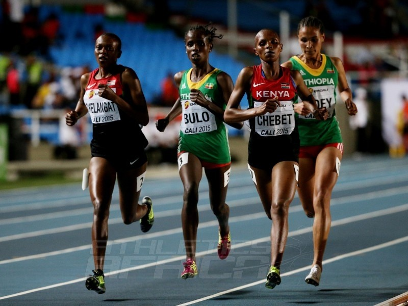 Shuru Bulo of Ethiopia, gold medal, Emily Chebet Kipchumba of Kenya, silver medal, and Sheila Chelangat of Kenya, bronze medal, in action during the Girls 3000m Final on day one of the IAAF World Youth Championships, Cali 2015 on July 15, 2015 at the Pascual Guerrero Olympic Stadium in Cali, Colombia. (Photo by Patrick Smith/Getty Images for IAAF)