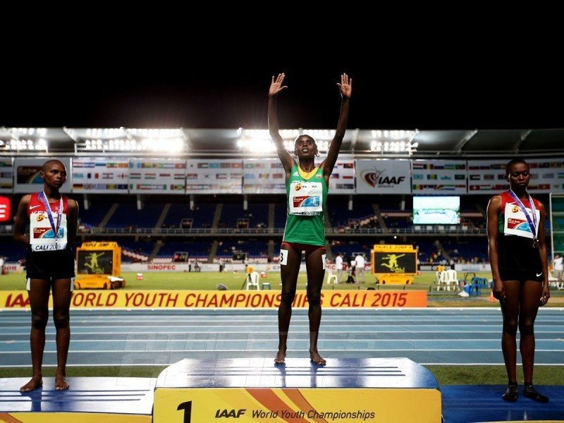 Shuru Bulo of Ethiopia, gold medal, Emily Chebet Kipchumba of Kenya, silver medal, and Sheila Chelangat of Kenya, broze medal, celebrate on the podium after the Girls 3000 Meters Final on day one of the IAAF World Youth Championships, Cali 2015 on July 15, 2015 at the Pascual Guerrero Olympic Stadium in Cali, Colombia. (Photo by Patrick Smith/Getty Images for IAAF)