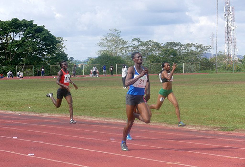 Nigeria's Tosin Adeloye winning the women's 400m in Akure / Photo credit: Making of Champions