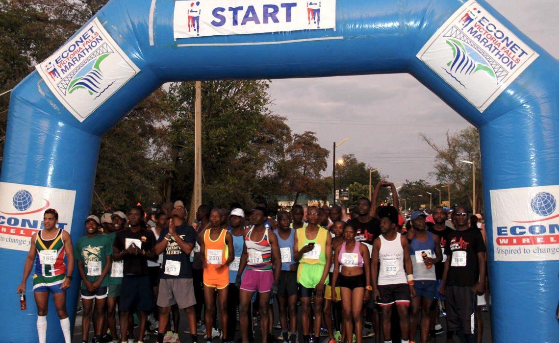 The start line at the 2015 Econet Wireless Victoria Falls Marathon