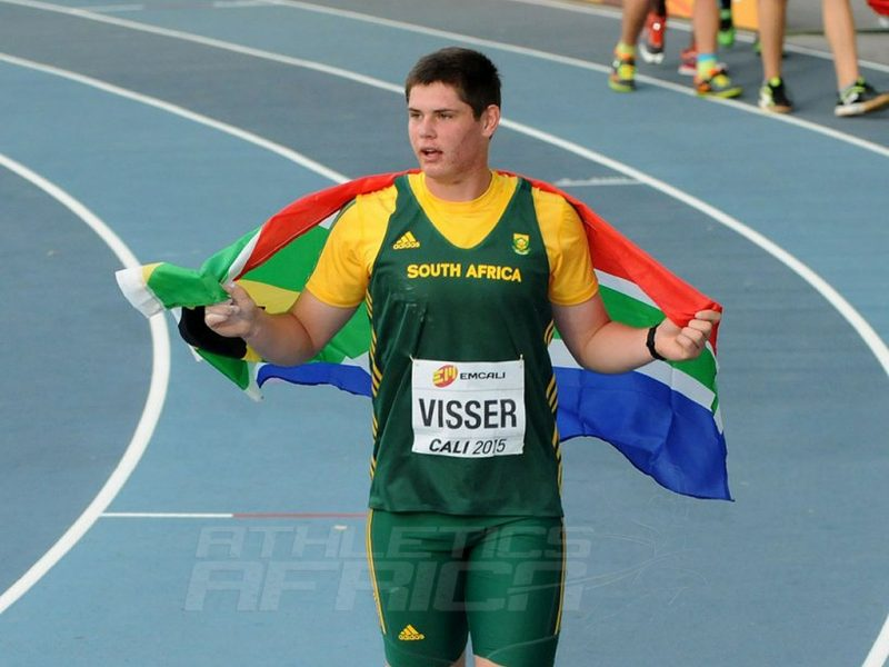 Werner Visser (South Africa) after winning the boys Discus at the IAAF World Youth Championships, Cali 2015 (Photo Credit: Getty Images for IAAF)