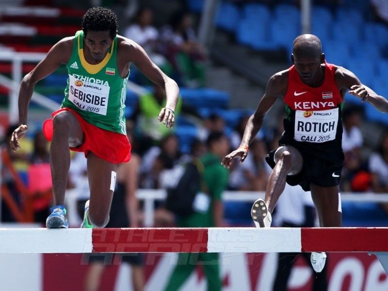 Wogene Sebisibe of Ethiopia and Geofrey Rotich of Kenya in action during round one of the Boys 2000 Meters Steeplechase on day three of the IAAF World Youth Championships, Cali 2015 on July 17, 2015 at the Pascual Guerrero Olympic Stadium in Cali, Colombia. (Photo by Patrick Smith/Getty Images for IAAF)