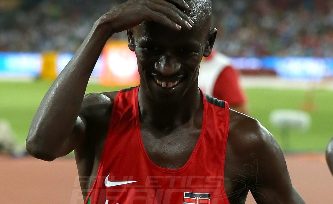 Ezekiel Kemboi of Kenya dances after winning win gold in the Men's 3000m steeplechase final on Day 3 of the 15th IAAF World Athletics Championships Beijing 2015 at Beijing National Stadium on August 24, 2015 in Beijing, China. (Photo by Lintao Zhang/Getty Images for IAAF)