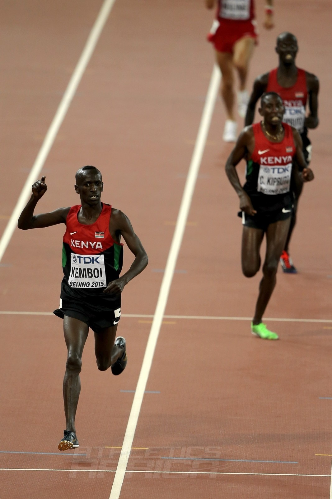 Ezekiel Kemboi of Kenya crosses the finish line to win gold in the Men's 3000 metres steeplechase final during day three of the 15th IAAF World Athletics Championships Beijing 2015 at Beijing National Stadium on August 24, 2015 in Beijing, China. (Photo by Lintao Zhang/Getty Images for IAAF)