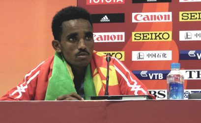Eritrean Ghirmay Ghebreslassie at the Press Conference after winning the men's marathon gold medal on Day 1 of Beijing 2015 / Photo credit: Yomi Omogbeja