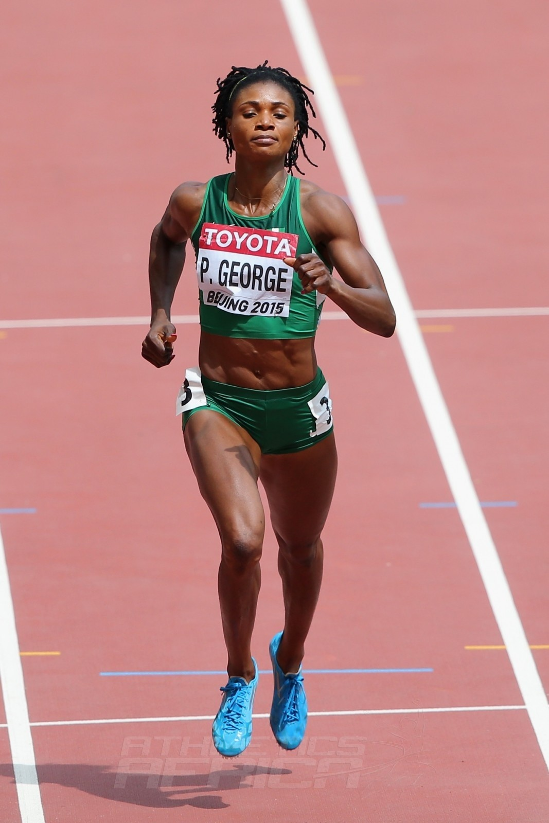 Patience Okon George of Nigeria competes in the Women's 400 metres heats during day three of the 15th IAAF World Athletics Championships Beijing 2015 at Beijing National Stadium on August 24, 2015 in Beijing, China.  (Photo by Lintao Zhang/Getty Images for IAAF)