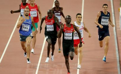 David Rudisha of Kenya winning men's 800m final on Day 4 at the 2015 IAAF World Championships in Beijing, China / Photo credit: Getty Images for the IAAF