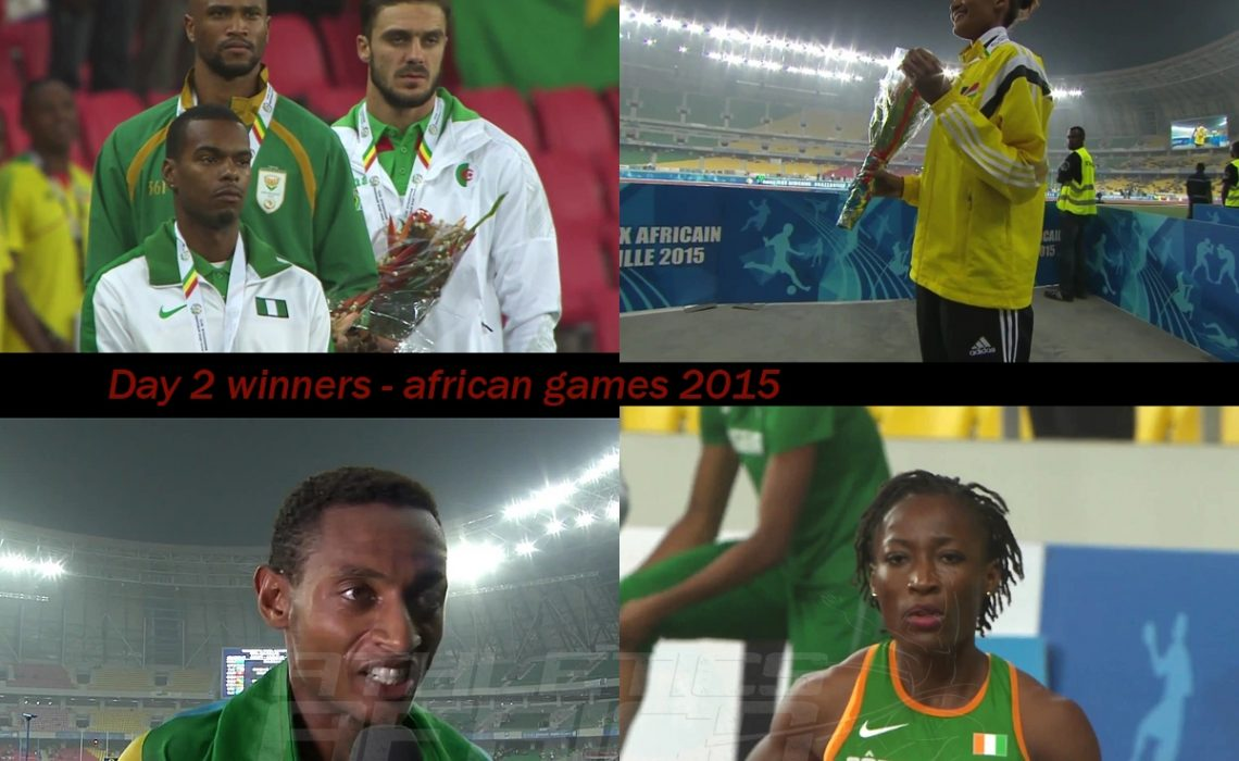 The podium winners on day 2 at the 11th African Games - Brazzaville 2015