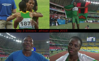 The podium winners on day 3 at the 11th African Games - Brazzaville 2015