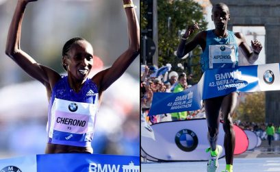 Eliud Kipchoge with his insoles flapping about and Gladys Cherono - men's and women's race winners at the 42nd BMW Berlin Marathon.
