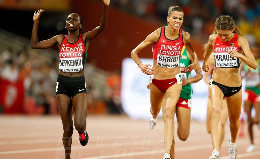 Habiba Ghribi of Tunisia and Kenyan Hyvin Kiyeng on day 5 at the 2015 IAAF World Championships in Beijing, China / Photo credits: Getty Images for the IAAF