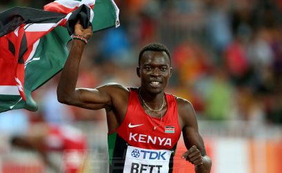 Nicholas Bett of Kenya after winning men's 400m hurdles final on Day 4 at the 2015 IAAF World Championships in Beijing, China / Photo credit: Getty Images for the IAAF