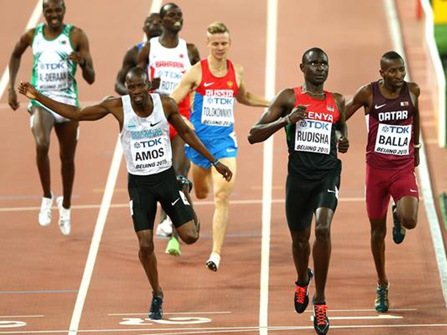 Nijel Amos of Botswana, David Rudisha of Kenya and Musaeb Balla of Qatar cross the finish line in the men's 800m semi-final during day two of the IAAF World Championships Beijing 2015 at Beijing National Stadium on August 23, 2015 (Getty Images)