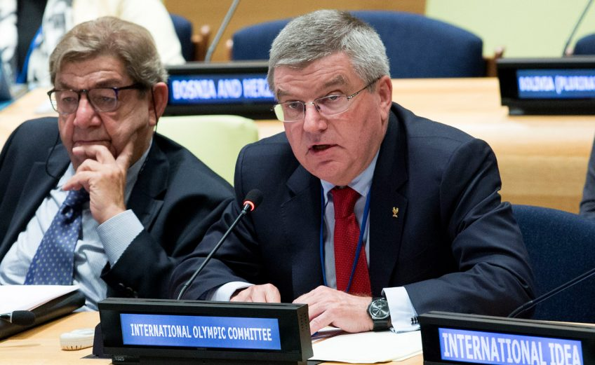 IOC President Thomas Bach speaking at the UN Assembly in New York on Saturday 26 September 2015 / Photo: IOC Media