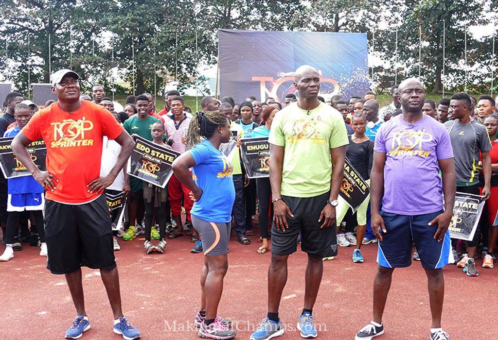 Nigeria's Olympic Medallists Deji Aliu, Glory Alozie, Uchenna Emedolu and Francis Obikwelu presented as Judges for the Top Sprinter Genesis auditions / Photo: MOC
