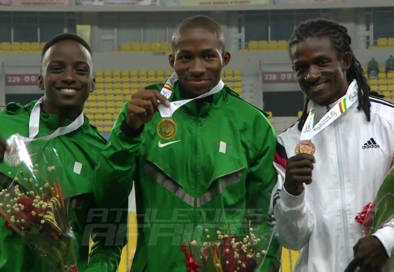 The men's Triple Jump podium at the 11th African Games - Brazzaville 2015