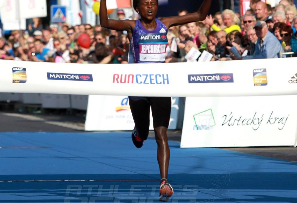 Kenyan Peres Jepchirchir winning at the 2015 Mattoni Usti nad Labem Half Marathon