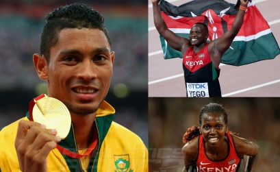 Julius Yego, Wayde van Niekerk and Hyvin Kiyeng on day 5 at the 2015 IAAF World Championships in Beijing, China / Getty Images for the IAAF