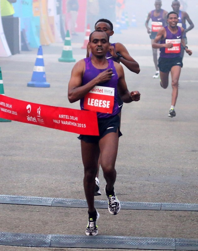 Ethiopia's Birhanu Legese and Kenya's Cynthia Limo winning at the 2015 Airtel Delhi Half Marathon on Sunday November, 29, 2015 / Photo Credit: Airtel Delhi Half Marathon