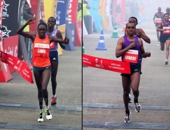 Legese and Limo triumph at the 2015 Airtel Delhi Half Marathon