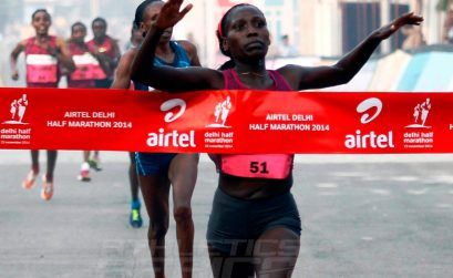 Florence Kiplagat winning the 2014 Airtel Delhi Half Marathon / Photo credit: Airtel Delhi Half Marathon
