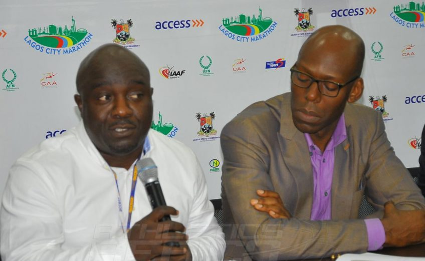 Project Consultant and CEO of Nilayo Sports Management Limited, Hon. Bukola Olopade speaking on the readiness for the Lagos City Marathon 2016 / Photo credit: Tunde Eludini