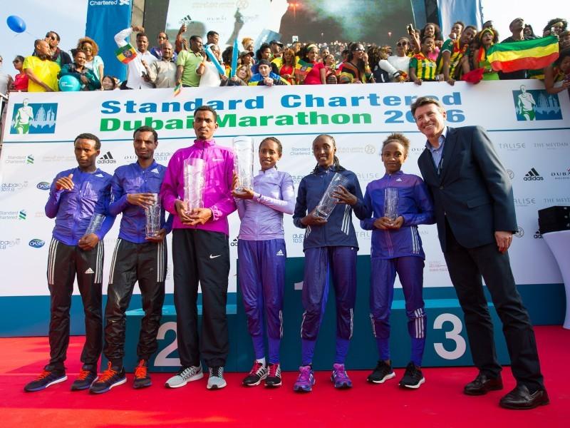 Ethiopians Tesfaye Dibaba Abera and Tirfi Beyene Tsegaye were crowned winners at the Standard Chartered Dubai Marathon in the United Arab Emirates on Friday