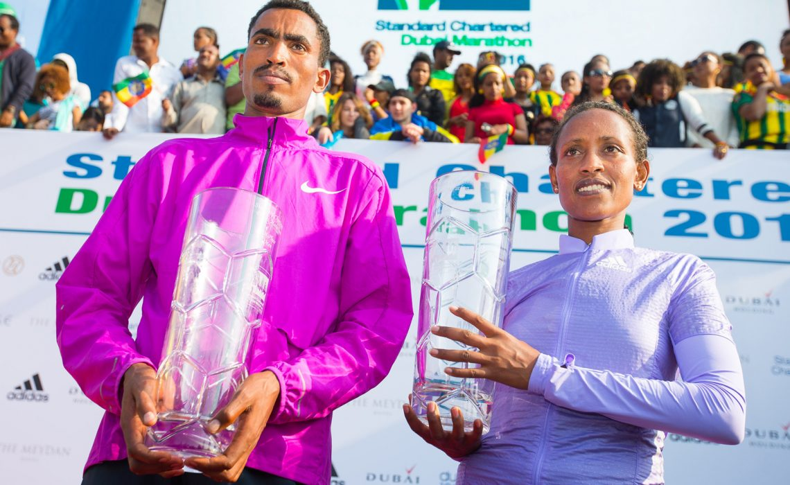 Ethiopians Tesfaye Dibaba Abera and Tirfi Beyene Tsegaye were crowned winners at the Standard Chartered Dubai Marathon in the United Arab Emirates on Friday