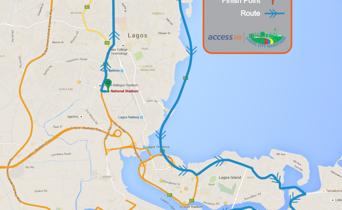 The Lagos City Marathon Route Map 2016