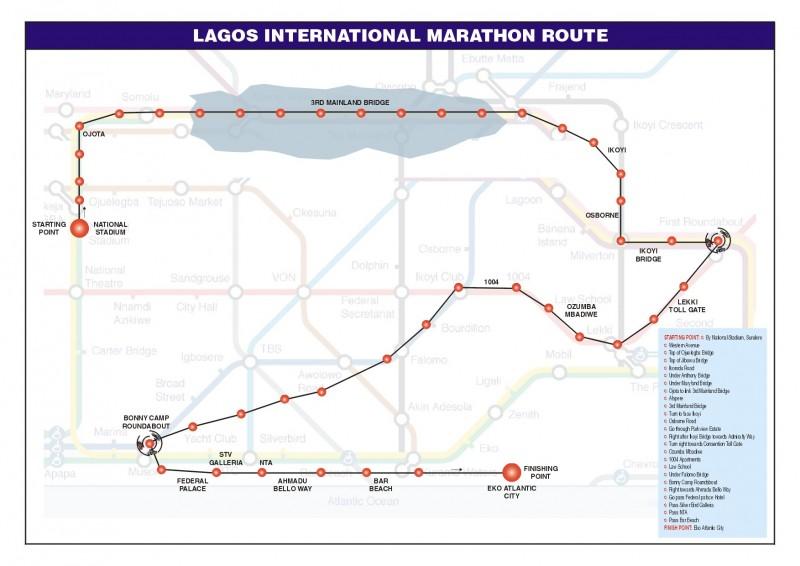 Lagos City Marathon Route Map 2016