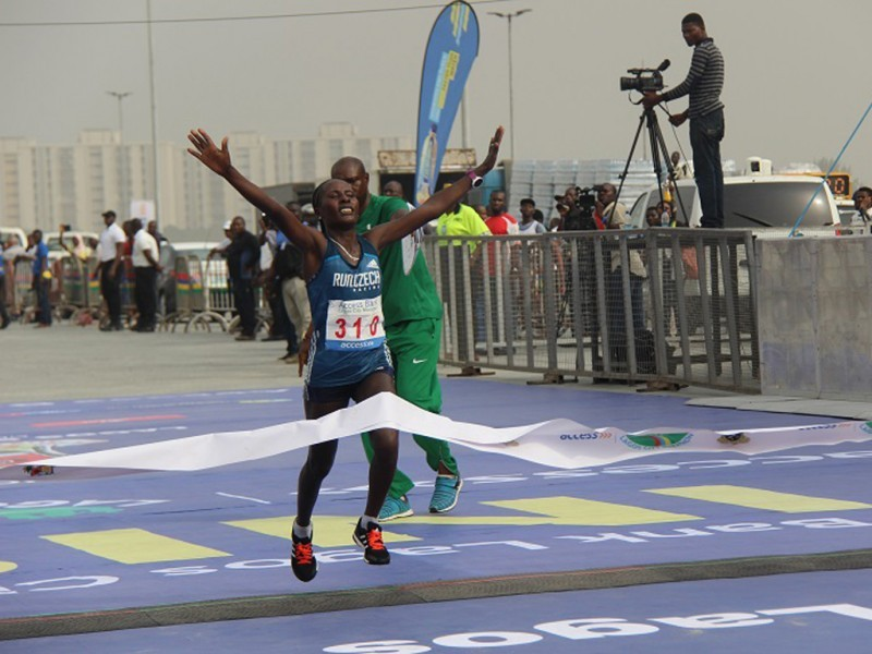 Halima Hussen Kayo of Ethiopia winning the 2016 Access Bank Lagos City Marathon in 2:38:32 on February 6, 2016 / Photo: Organisers