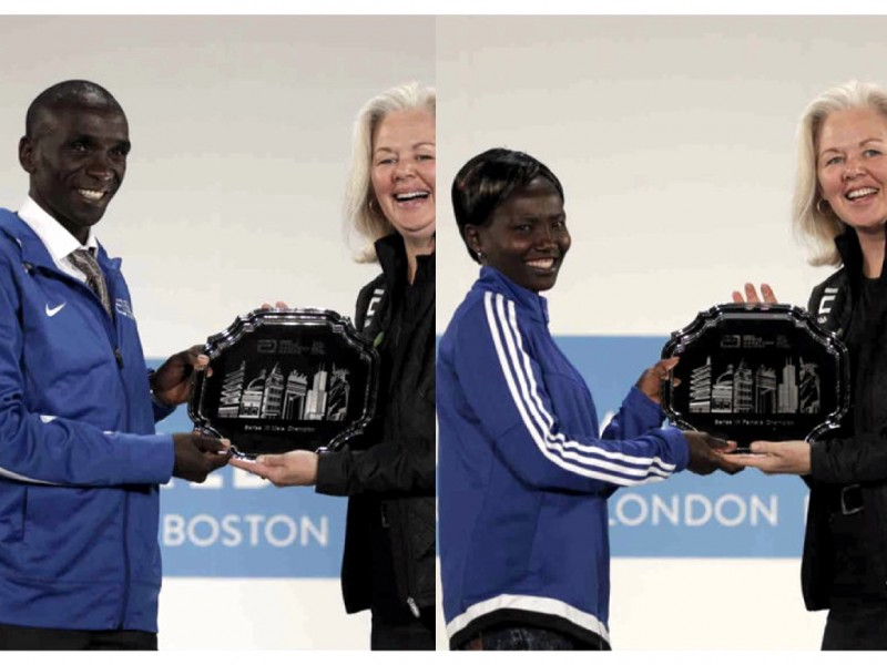 Eliud Kipchoge and Mary Keitany from Kenya