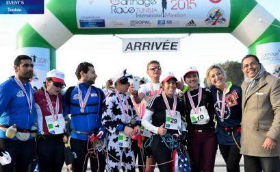 The team at the first edition of the Carthage Marathon in Tunisia