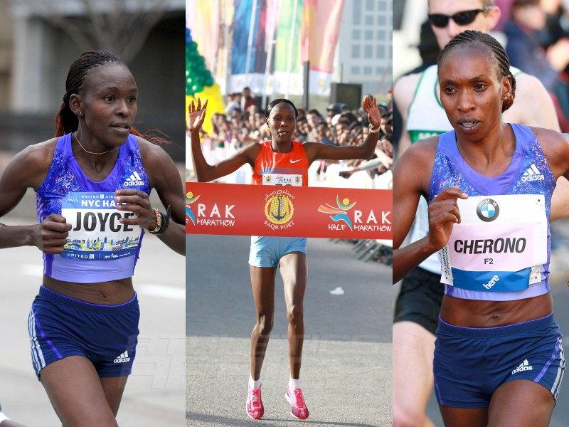 Gladys Cherono (KEN) – reigning World Half Marathon Champion, Priscah Jeptoo (KEN) – RAK Half Marathon 2014 champion and Joyce Chepkirui (KEN) – former Commonwealth Champion and winner of Amsterdam Marathon 2015 – Photo credit: Vic Sailer