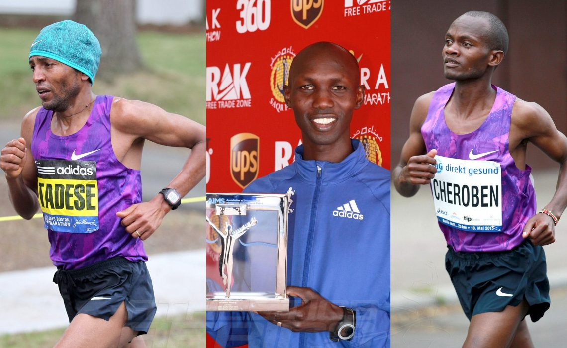 Zersenay Tadese (ERI) – Half Marathon World Record holder since 2010, Wilson Kipsang (KEN) – Former Marathon World Record holder and Abraham Cheroben (KEN) – Fastest half marathon runner in 2015 / Photo credit: Vic Sailer