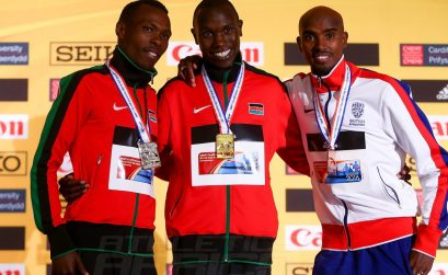 Gold medalist Geoffrey Kipsang Kamworor of Kenya (C), Silver medalist Bedan Karoki Muchiri of Kenya (L) and Bronze medalist Mo Farah of Great Britain (R) pose for a photo after winning the Men's half marathon during the IAAF/Cardiff University World Half Marathon Championships on March 26, 2016 in Cardiff, Wales. (Photo by Jordan Mansfield/Getty Images for IAAF)