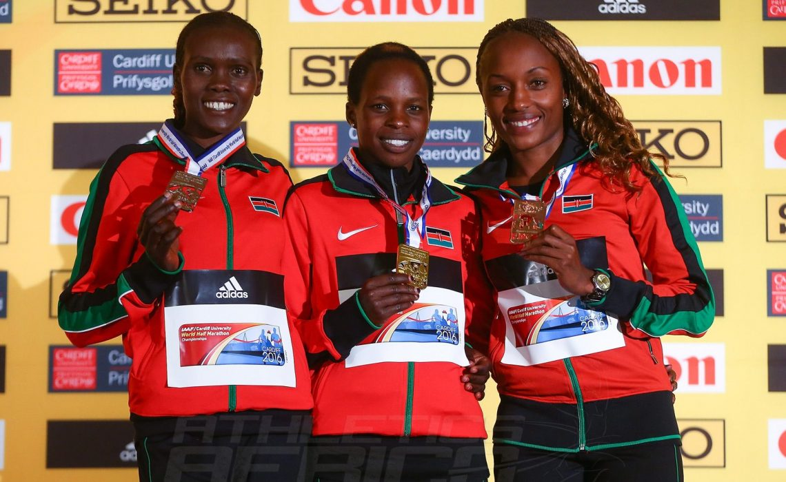 Kenya Women's team podium during the IAAF/Cardiff University World Half Marathon Championships on March 26, 2016 in Cardiff, Wales (Photo by Jordan Mansfield/Getty Images for IAAF)
