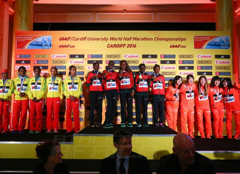 Women's team medallists during the IAAF/Cardiff University World Half Marathon Championships on March 26, 2016 in Cardiff, Wales (Photo by Jordan Mansfield/Getty Images for IAAF)