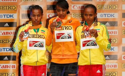 Dawit Seyaum, Sifan Hassan and Gudaf Tsegay on the podium at Portland 2016 / Photo credit: Getty Images for the IAAF.