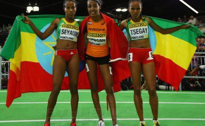 Dawit Seyaum, Sifan Hassan and Gudaf Tsegay pose for camera after the women's 1500m final at Portland 2016 / Photo credit: Getty Images for the IAAF.