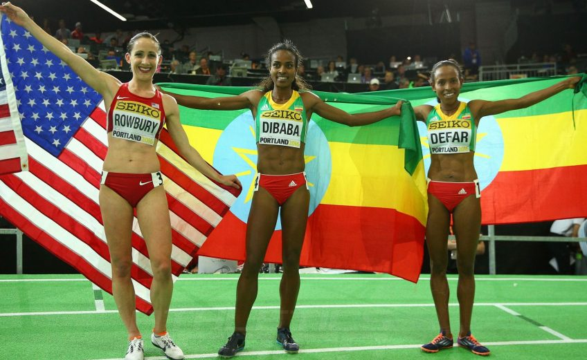 (L-R) Bronze medallist Shannon Rowbury of the United States, gold medallist Genzebe Dibaba of Ethiopia and silver medallist Meseret Defar of Ethiopia pose after the Women's 3000 Metres Final during day four of the IAAF World Indoor Championships at Oregon Convention Center on March 20, 2016 in Portland, Oregon. (Photo by Ian Walton/Getty Images for IAAF)