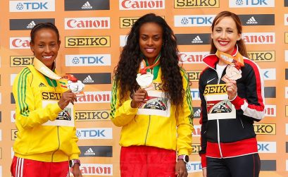 (L-R) Silver medallist Meseret Defar of Ethiopia, gold medallist Genzebe Dibaba of Ethiopia and bronze medallist Shannon Rowbury of the United States during the medal ceremony for the Women's 3000 Metres during day four of the IAAF World Indoor Championships at Pioneer Courthouse Squareon March 20, 2016 in Portland, Oregon. (Photo by Christian Petersen/Getty Images for IAAF)
