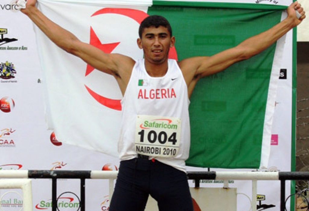 Algeria's Larbi Bourrada after winning his first African Decathlon title in Nairobi, Kenya in 2010.