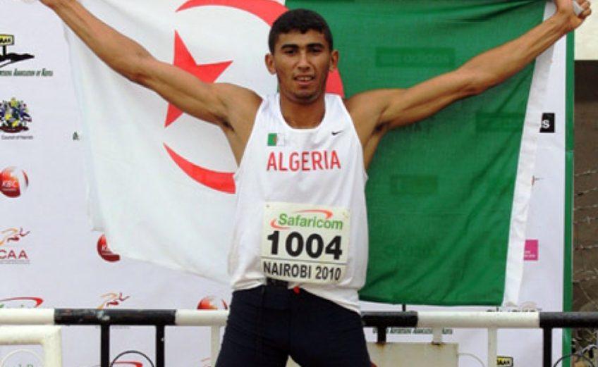 Algeria's Larbi Bourrada after winning his first African Decathlon title in Nairobi, Kenya in 2010.