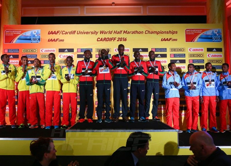 Men's team medallists during the IAAF/Cardiff University World Half Marathon Championships on March 26, 2016 in Cardiff, Wales (Photo by Jordan Mansfield/Getty Images for IAAF)